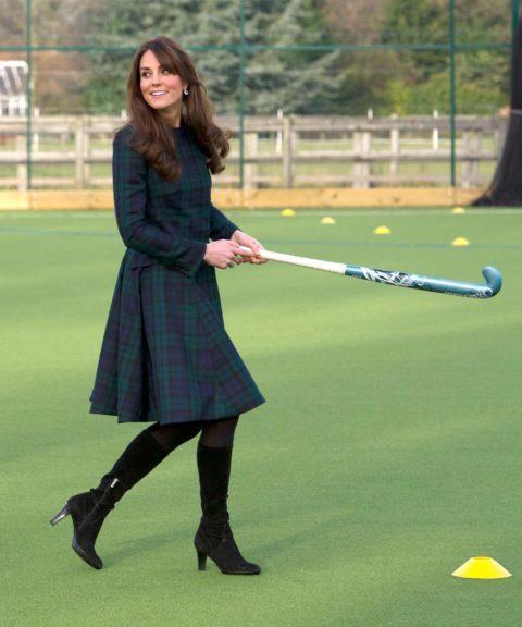 Catherine, Duchess of Cambridge Visits St Andrew's School in Alexander McQueen tartan coat