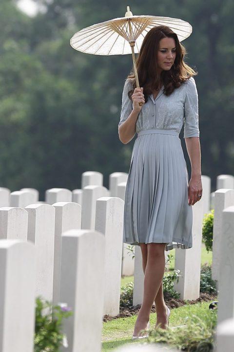 Kate Middleton tours the Kranji War Cemetery in Singapore in Jenny Packham