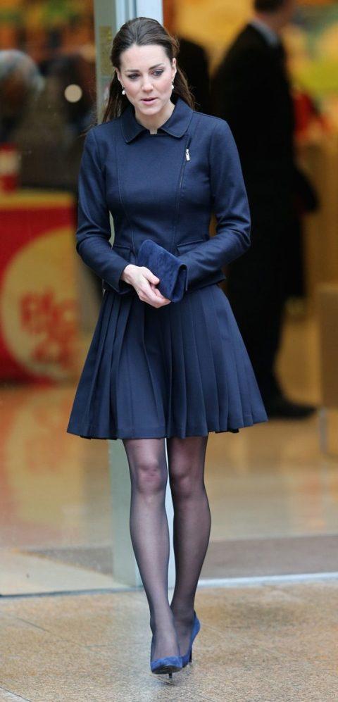 Kate Middleton navy Max Mara Orla Kiely