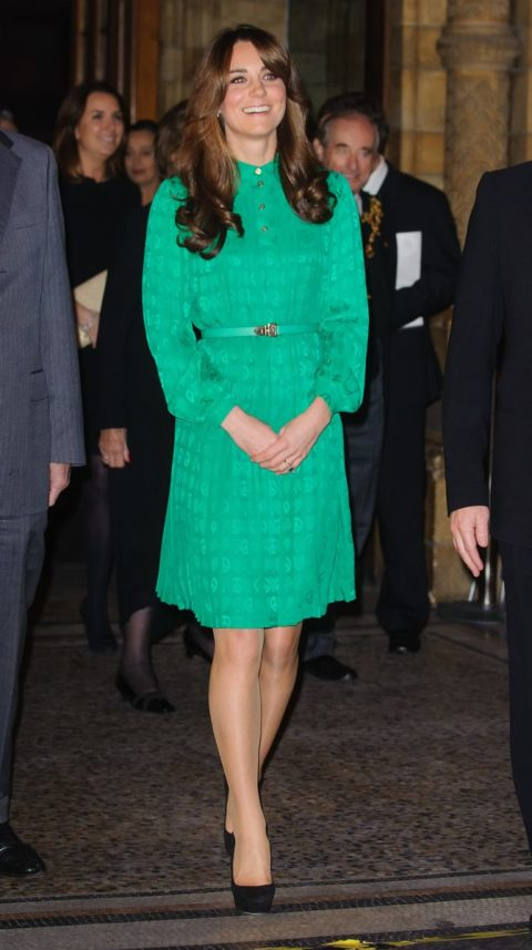 Kate Middleton Mulberry dress new bangs at the Natural History Museum's Treasures Gallery