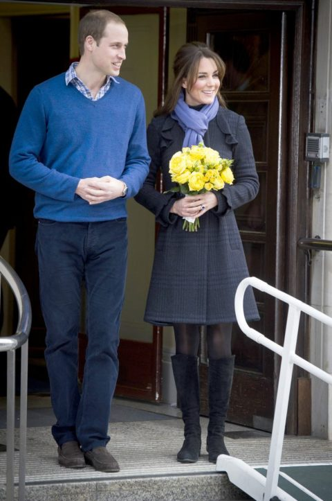 Pregnant Kate Middleton leaves hospital in DVF coat