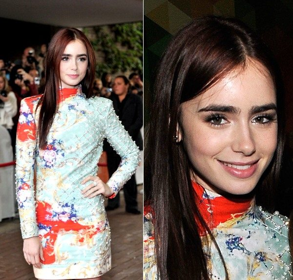 Lily Collins Tiff Red Carpet Look