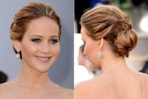 Jennifer Lawrence Oscars 2013 hair makeup nails