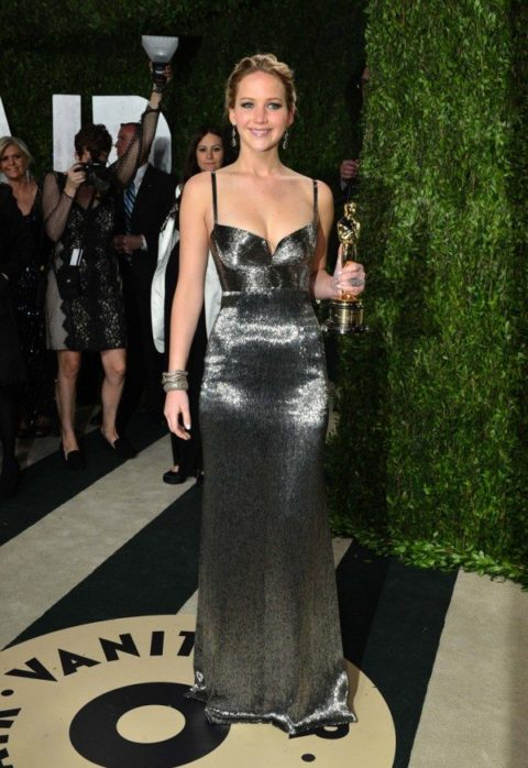 Jennifer Lawrence Calvin Klein Oscars 2013 Vanity Fair Party