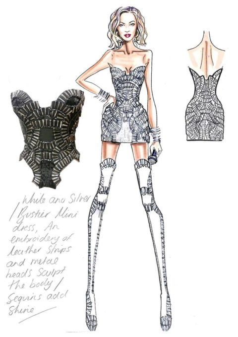 Beyonce Mrs Carter European Tour Versace Sketch 2