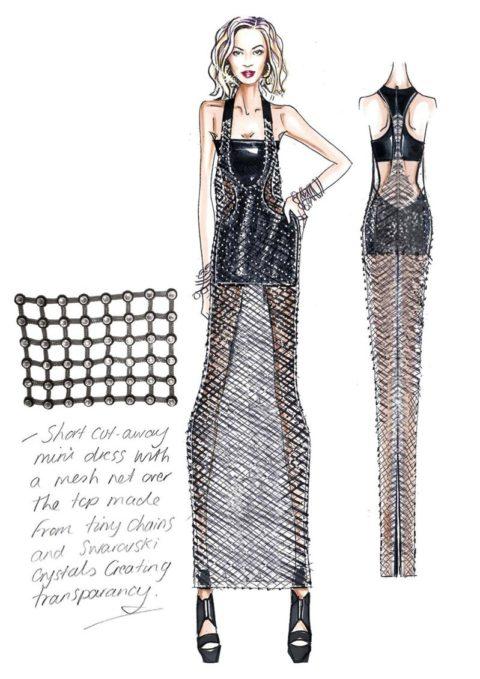Beyonce Mrs Carter European Tour Versace Sketch