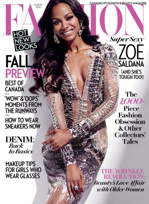 Fashion Magazine August 2014 Zoe Saldana