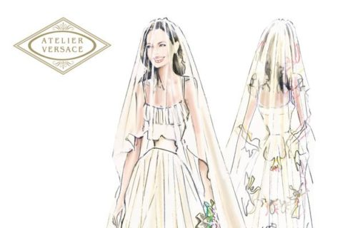 Angelina Jolie Wedding Versace Sketch