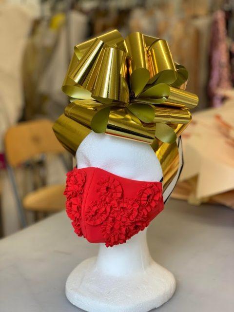 Red Greta Constantine face mask