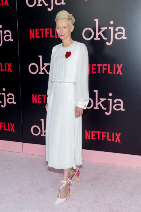 "Tilda Swinton 2017 Premiere of ""Okja"" in Schiaparelli"