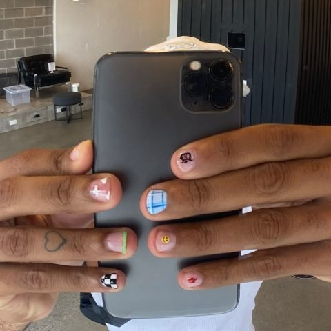 Donté Colley with Tips Nail Bar nail art