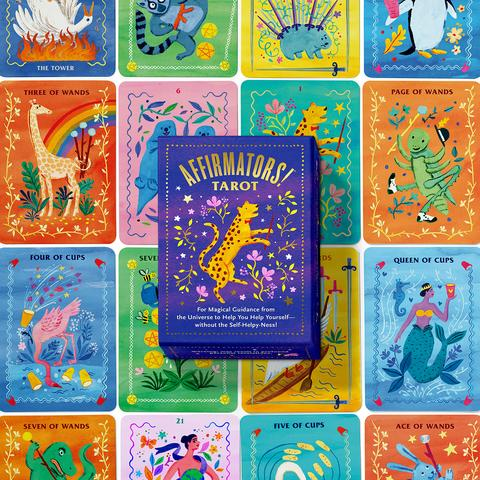 Colourful deck of tarot cards