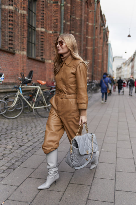 camel leather pants tucked into boots