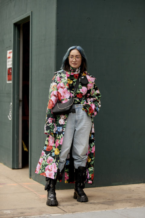 floral coat pants tucked into boots
