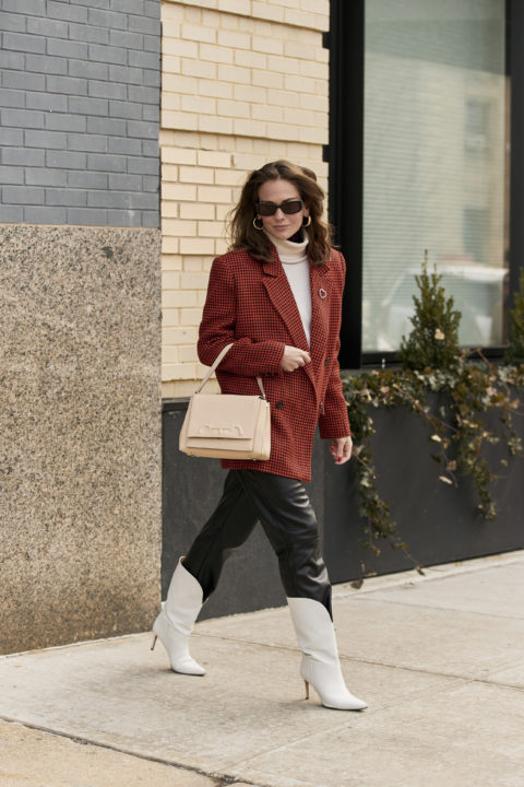 red blazer pants tucked into boots