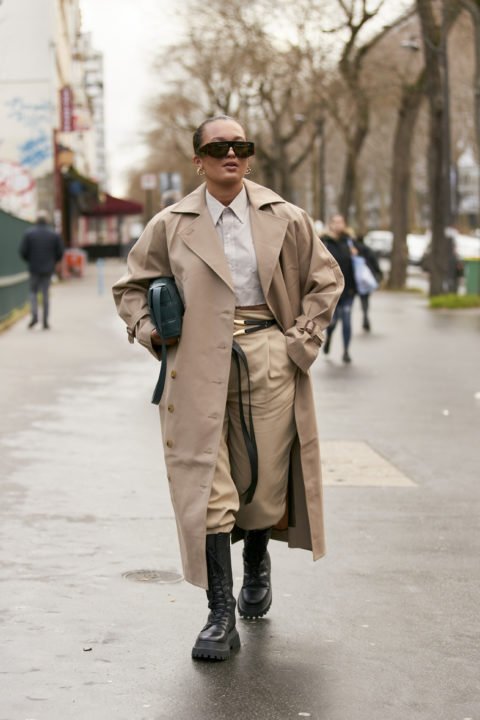 trench coat pants tucked into boots