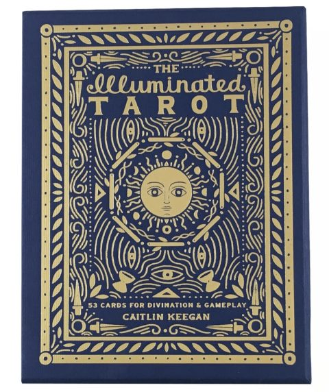 Blue and gold tarot cards