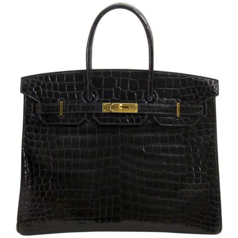 A black Hermes Birkin bag