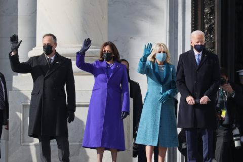 A photo of Doug Emhoff, U.S. Vice President-elect Kamala Harris, Jill Biden and President-elect Joe Biden on Inauguration Day 2021