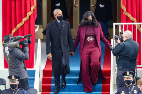 Barack and Michelle Obama attending the 2021 Inauguration Ceremony