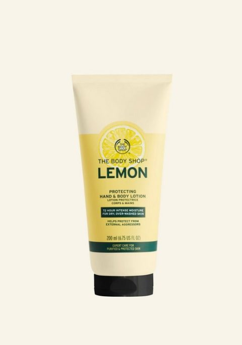 Lemon-scented hand and body lotion