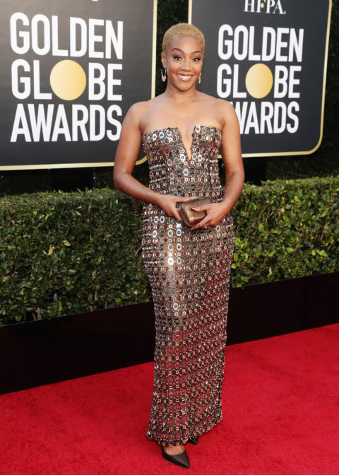 Tiffany Haddish on the 2021 Golden Globes red carpet