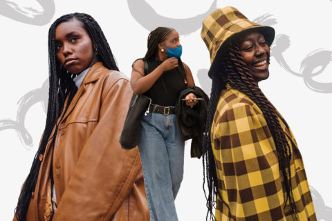 Three women model protective hairstyles