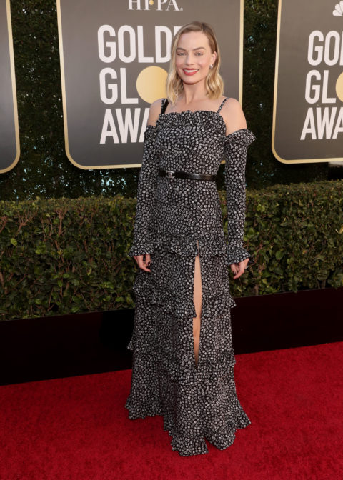 Margot Robbie on the 2021 Golden Globes red carpet