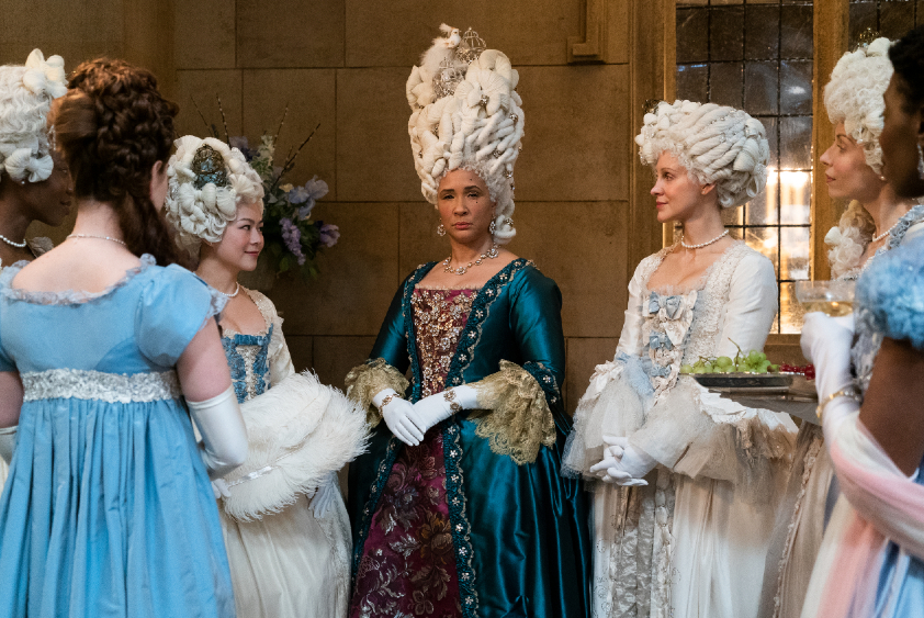 BRIDGERTON's GOLDA ROSHEUVEL as QUEEN CHARLOTTE in episode 108 of BRIDGERTON