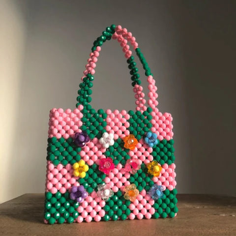 Checkered beaded bag