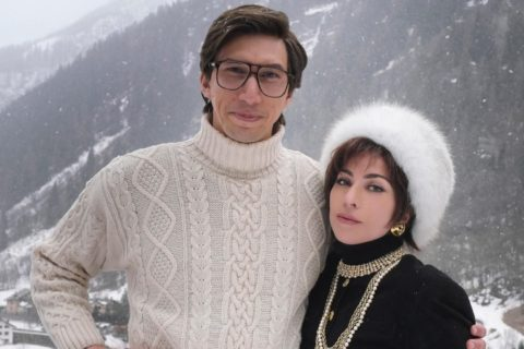 A behind-the-scenes photo of Adam Driver and Lady Gaga filming their new movie House of Gucci