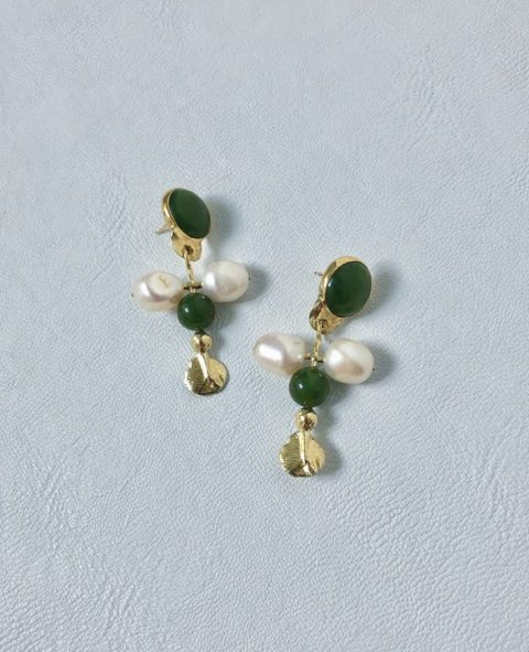 Pearl and green earrings