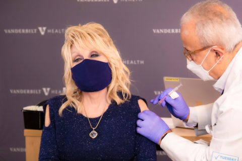 celebs getting covid vaccine: dolly parton