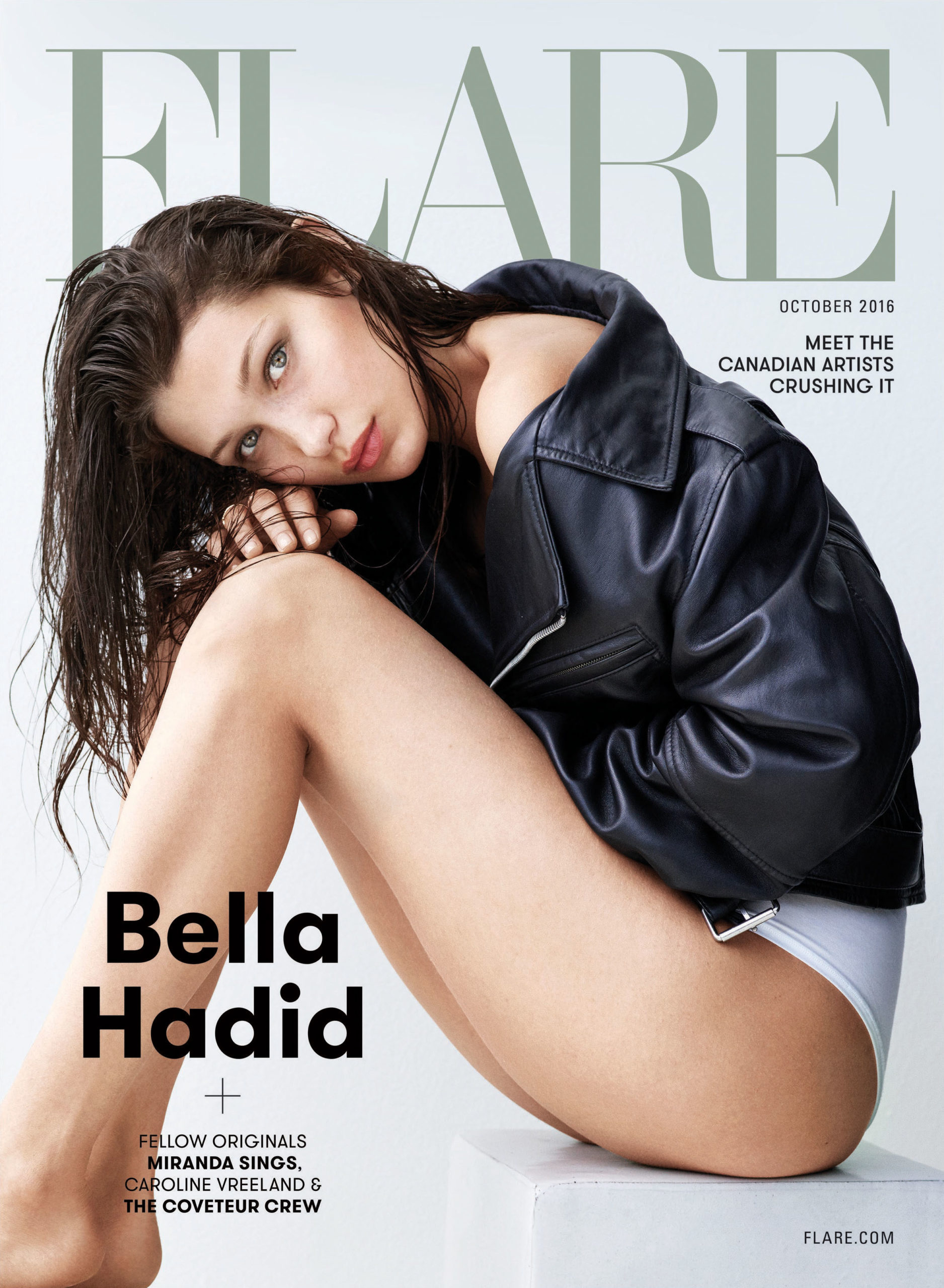 Bella Hadid wears a Calvin Klein Jeans jacket and Calvin Klein Underwear underwear. (Photography: Nino Muñoz, Stockland Martel. Styling:  Isabel Dupré, Lalaland Artists. Hair: David Von Cannon, Streeters. Makeup: Rose-Marie Swift, RMS Beauty, Streeters. Nails: Yuko Wada, Dior Vernis, Atelier Management. Furniture: HomeStories.com.)