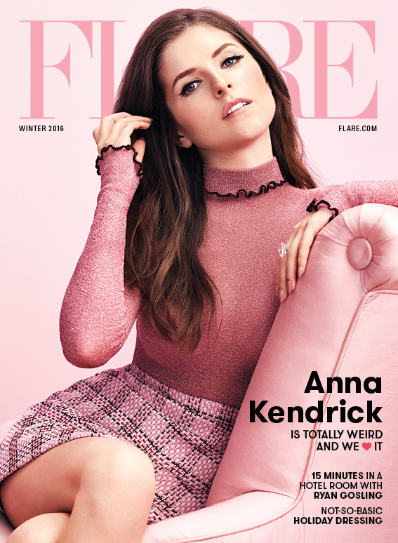 Anna Kendrick wears a Céline top, Gucci skirt and stylist's own earrings and ring. (Photography: Nino Munoz; styling: Johnny Wujek)