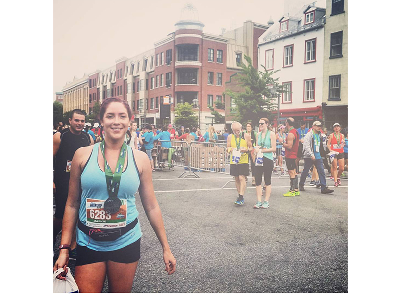 A return to running: Dell after completing a half-marathon in Quebec last year. (Photo: courtesy of Markie Dell.)