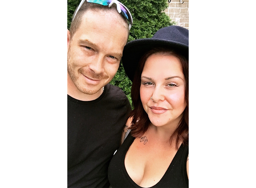 Writer Eden Boudreau, with her husband. (Photo: Eden Boudreau)