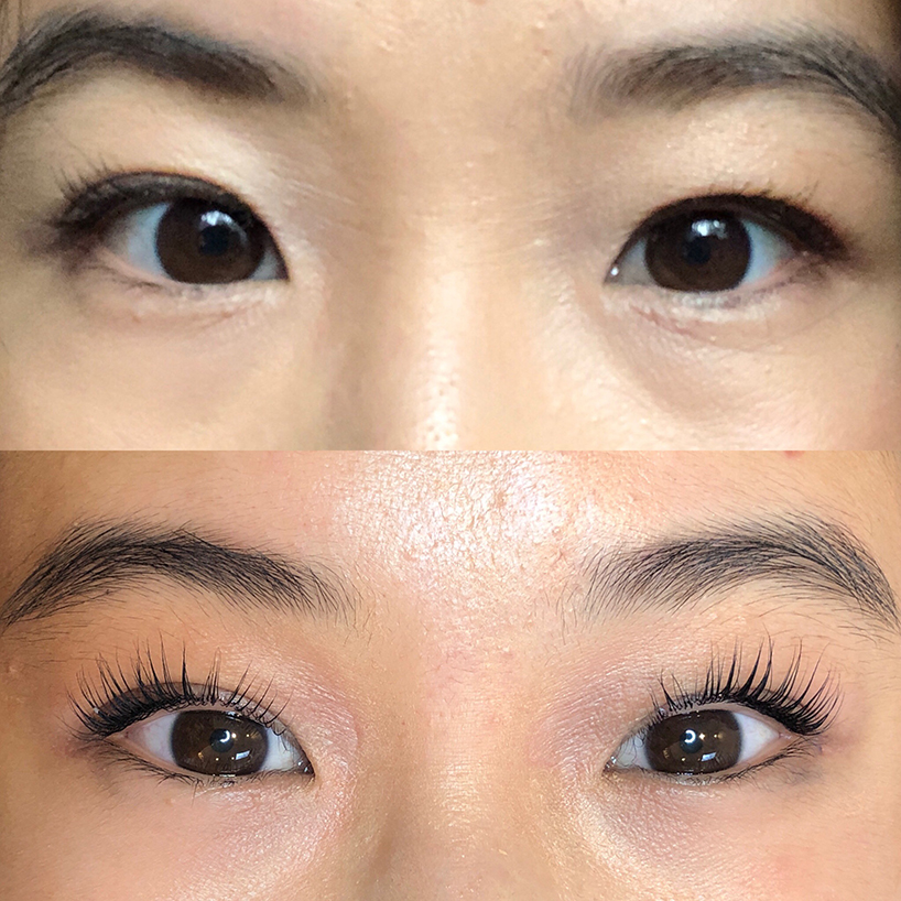 Before and after: The results of the lash perm (Photo: Madelyn Chung)