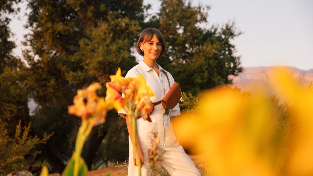 (Rashida Jones models The Belt Bag from the Away by Rashida Jones Collection; Photo: Away)