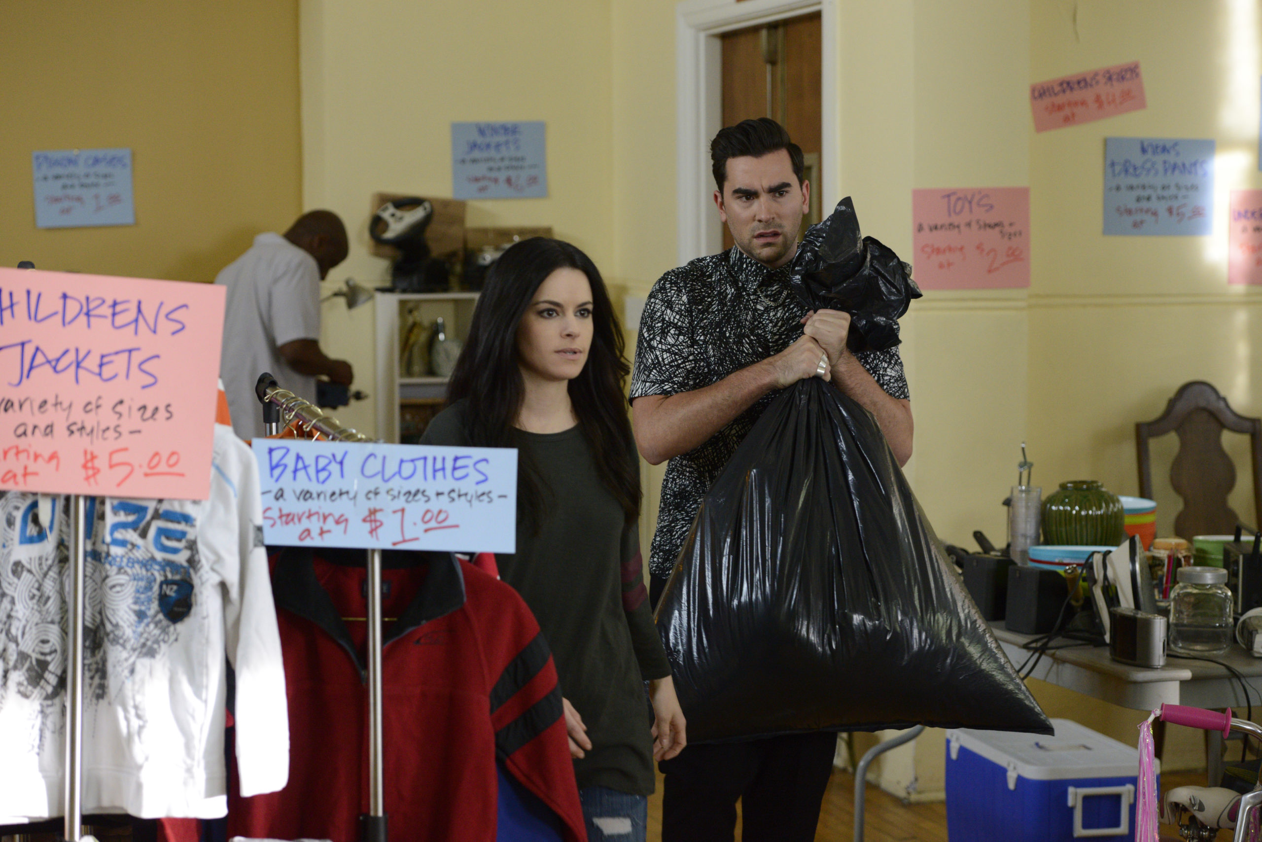 Emily Hampshire and Dan Levy (Courtesy of CBC)