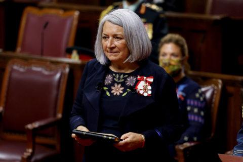 Mary Simon wears an Indigenous designer dress