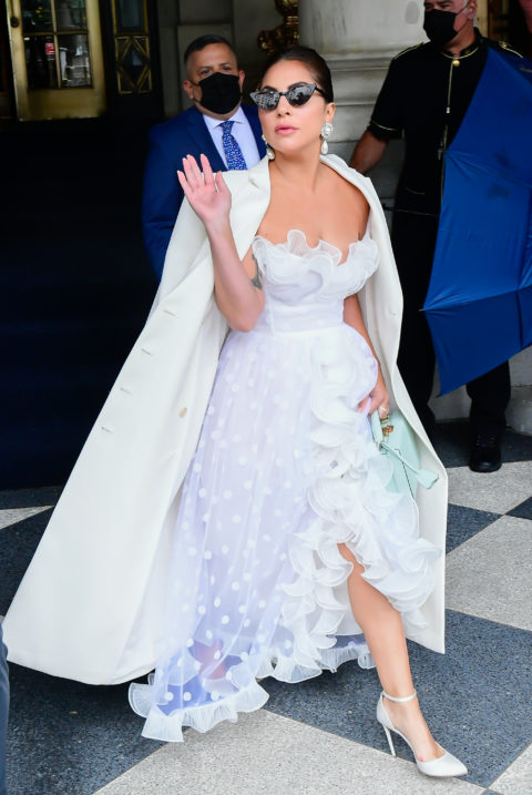 Lady Gaga in a white ball gown