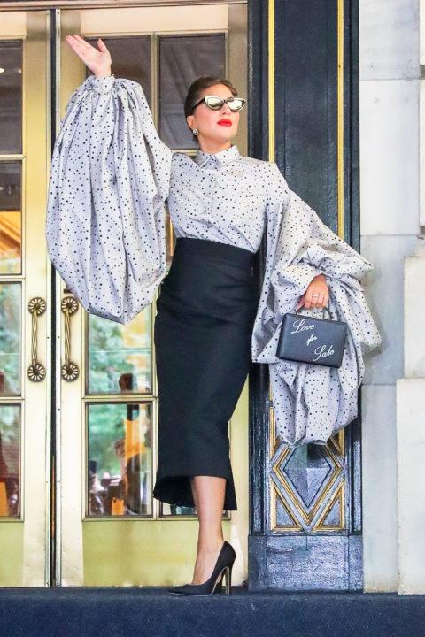Lady Gaga wearing a puff-sleeve blouse