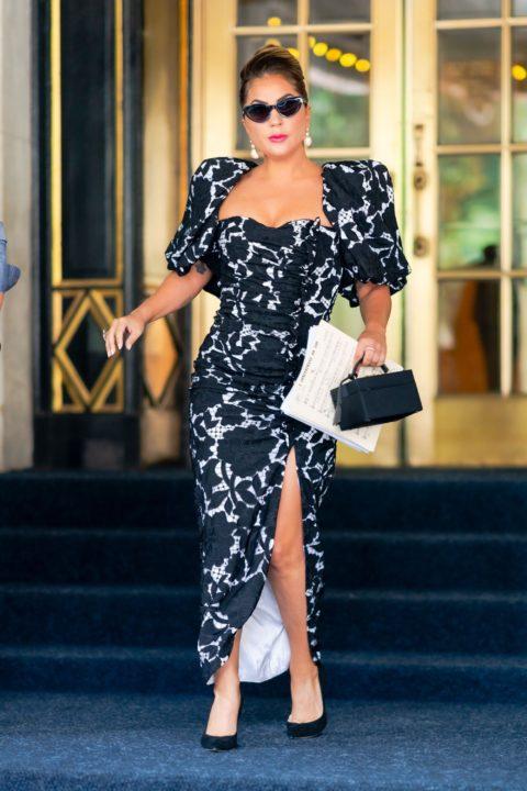 Lady Gaga in a black and white dress