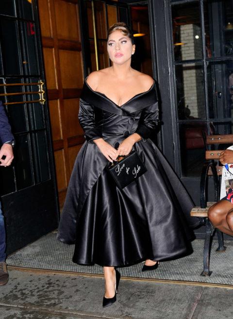 Lady Gaga in a black, off-the-shoulder dress