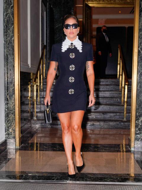 Lady Gaga in mod mini dress