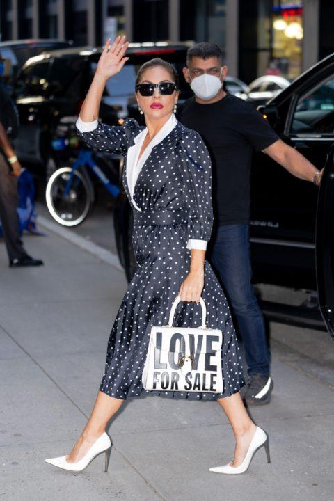 Lady Gaga wearing polka dots