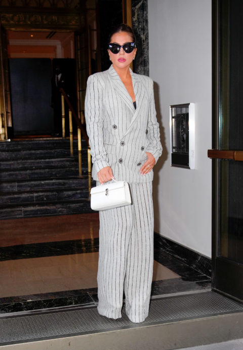 Lady Gaga wearing a striped suit