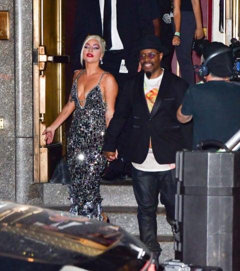Lady Gaga in a silver dress