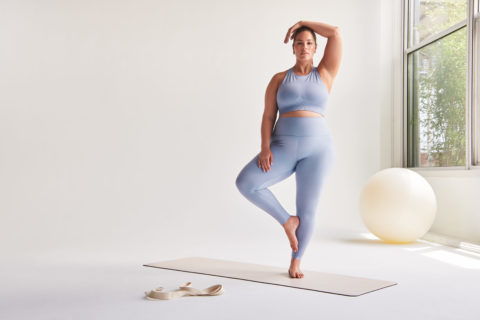 Ashley Graham in Knix Active blue leggings and bra